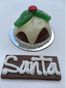 Mini Christmas Pudding with personalised plaque